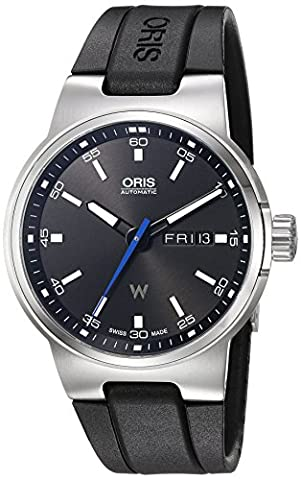 Oris Men's 'Williams Day Date' Swiss Automatic Stainless Steel and Rubber Dress Watch, Color:Black (Model: (Watch Automatic Oris)