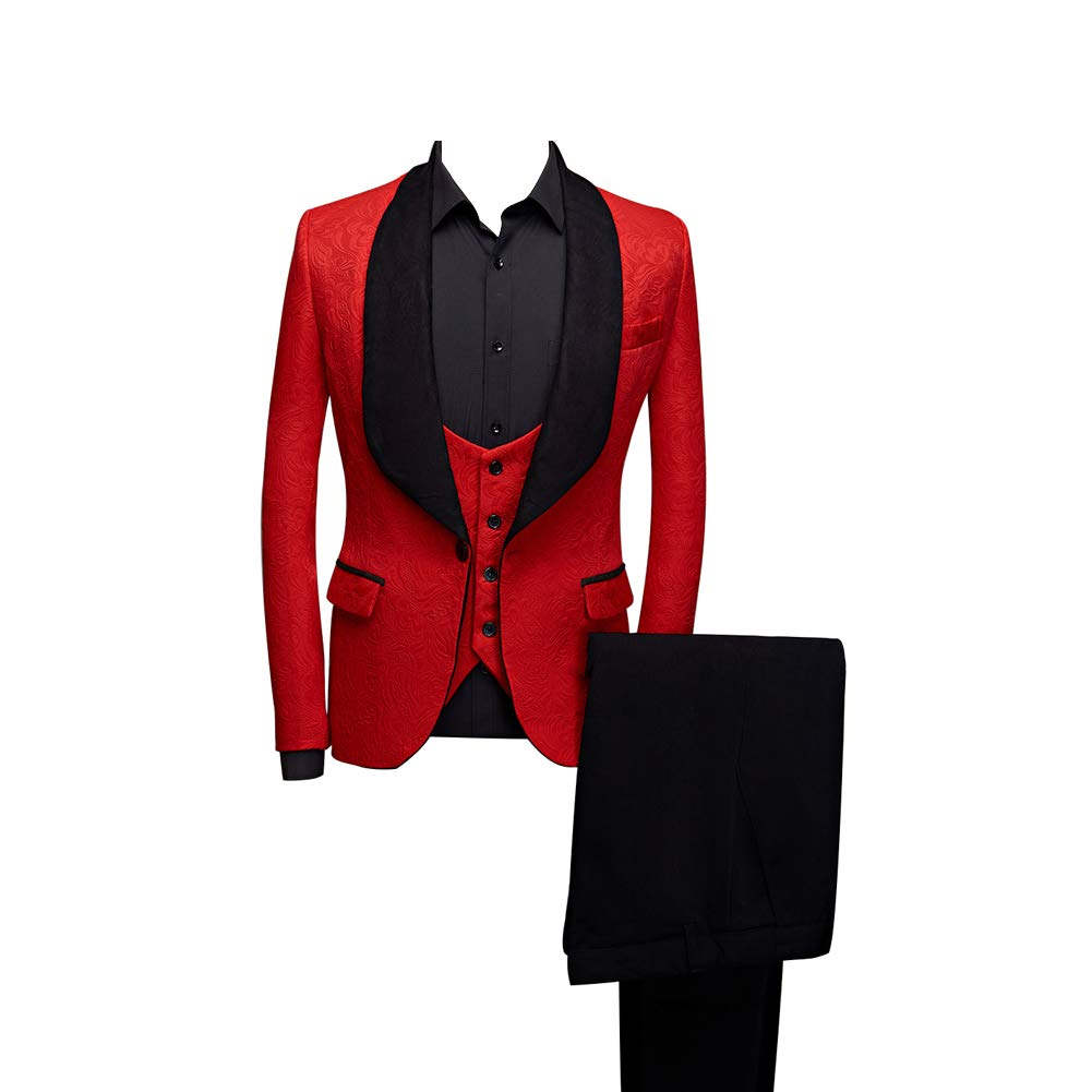 Btaidi Shawl Lapel Man Suit Groom Wedding Men's Blazer Groomsmen Suits 3 Pieces Jacket Vest Pants Tie Red by Btaidi