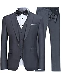 Men's Slim Fit 3 Piece Suit One Button Blazer Tux Vest & Trousers