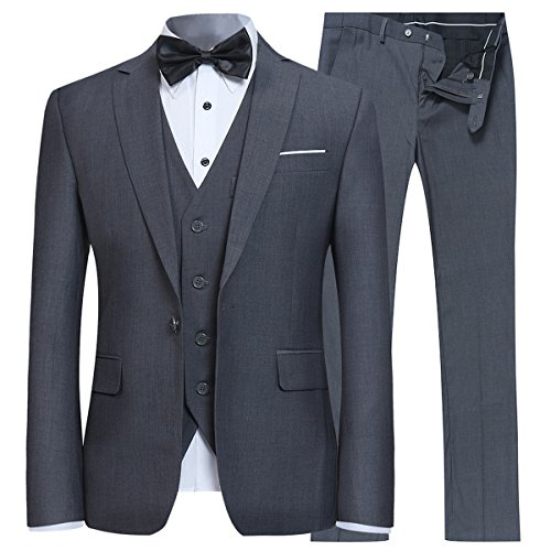 Mens Tux Vest - YFFUSHI Men's Slim Fit 3 Piece Suit One Button Blazer Tux Vest & Trousers, Dark Grey, X-Large