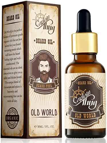 Captain Thug Old World Beard Oil Conditioner - Ultra Premium Ayurveda, 6 Essential Oils, Softens, Smooths and Strengthens Beard Growth - Grooming Beard and Mustache Nourishment Treatment 1 fl. oz.