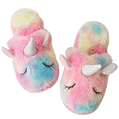 100cacd179614 Rainbow Unicorn Slippers/Cute Fluffy Girls Slippers/Cozy Plush Indoor  Outdoor Women Slippers/Best Unicorn Gifts