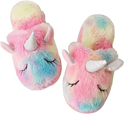 techcity Rainbow Unicorn Slippers/Cute Fluffy Girls Slippers/Cozy Plush Indoor Outdoor Women Slippers/Best Unicorn Gifts