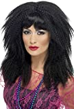 Smiffy's Women's Long Black 80's Crimped Wig with Layers and Bangs, One Size, 80's Trademark Crimp Wig, 5020570432051