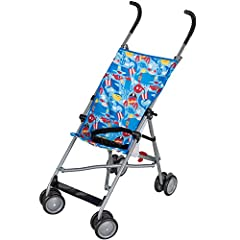 Make strolling more fun and convenient with the Cosco Umbrella Stroller! Made with a durable frame, this stroller is lightweight and compact in design. It is easy to install, as the only assembly required is the attachment of the front wheels...