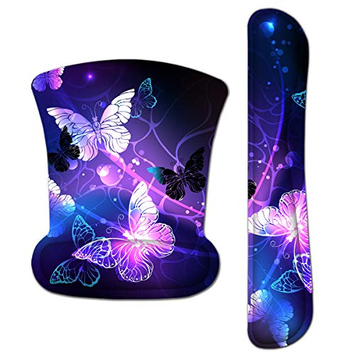 HAPLIVES Ergonomic Keyboard Wrist Rest Pad and Mouse Pad Wrist Support Set with Non-Slip Backing Memory Form-Filled, Easy-Typing and Pain Relief for Gaming Office Computer Laptop (Colorful Butterfly)