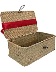 Yardwe Woven Wicker Storage Bins with Lid and Bow Seagrass Shelf Basket Rectangular Rattan Storage Basket Makeup Organizer for Laundry Toilet Paper Toys