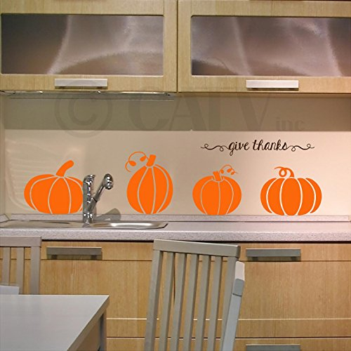 Large Pumpkins with Give Thanks Vinyl Lettering Wall Decal Stickers (Solid)