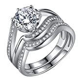 Cubic Zirconia Wedding Sets 2.1 Carat Round Cut Solitaire Engagement Rings Sterling Silver Size 9 Gifts for Women