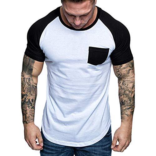 iHPH7 T-Shirt Men Crew T-Shirt Fashion Men Slim Fit Patchwork Pocket Short Sleeved T-Shirt Top Blouse XXL Black -