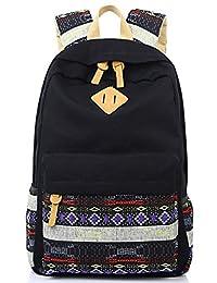 Leaper Lightweight Canvas School Backpack Laptop Bag Shoulder Daypack (Large, Black + Flower)