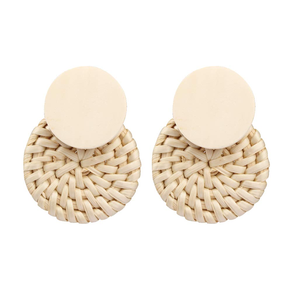 MIZUKAGAMI TORI Drop Earrings 2.25'' x 1.75'' for Women Handmade Rattan Weave