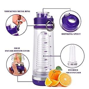 BOTTLED JOY Fruit Infuser Water Bottle, BPA-Free Sports Water Bottle with Fruit Infusion Insert, Flip-top Tritan Water Bottles for Sports Drinks 24oz 700ml (Purple)