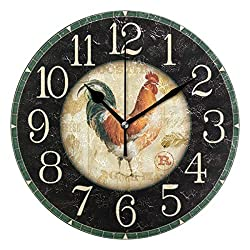 Jacksome Rooster Round Wall Clock Farm House Home Decor Battery-Powered Silent Clock 9.8 Inch