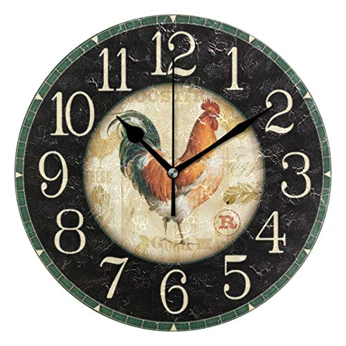 (Jacksome Rooster Round Wall Clock Farm House Home Decor Battery-Powered Silent Clock 9.8 Inch)