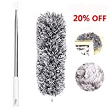 Microfiber Duster, Feather Duster, 110 Inches Long with Telescoping Extension Pole and 360°Flexible Bendable Washable Lint Free Head for Cleaning High Ceilings Ceiling Fans Cobweb Car Furniture Blinds