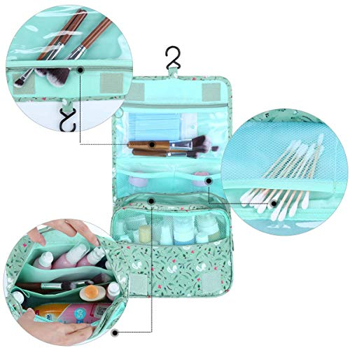 Multifunctional Make up Bag Brush Pouch Storage Toiletry Wash Bags Travel Cosmetic Bags Portable Travel Makeup Case Organizer For Women Girls Lady (Green) by Tbestmax (Image #3)