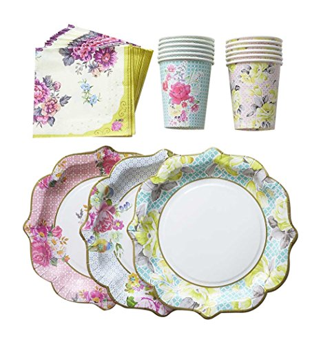 Floral Print Paper Plates Cups Napkins 12 Plates, 12 Cups, 30 Napkins Vintage Flower Tea Party Garden Patterns