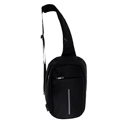 Fityle Anti-Theft Waterproof Canvas Chest Bag Backpack USB Charge Travel Sport Casual Sling Shoulder Pack