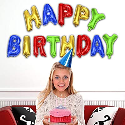 Happy Birthday Party 13 Piece Mylar Balloon Banner for Kids Boys & Girls Decoration: Toys & Games