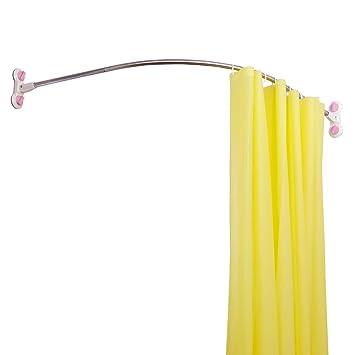 Baoyouni Gebogene Duschvorhangstange Ecke Dusche Gardinenstange Rostbeständig Badezimmer Gewölbte Dusche Rail Pole Elfenbein 955cm