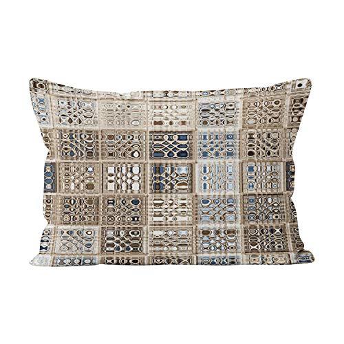 - Wesbin Slate Blue Brown Sari Mosaic Hot Hidden Zipper Home Decorative Rectangle Throw Pillow Cover Cushion Case Inch 12x24 Lumbar One Side Design Printed Pillowcase