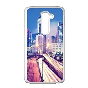 Cute TPU Case Hong Kong at Night LG G2 Cell Phone Case White
