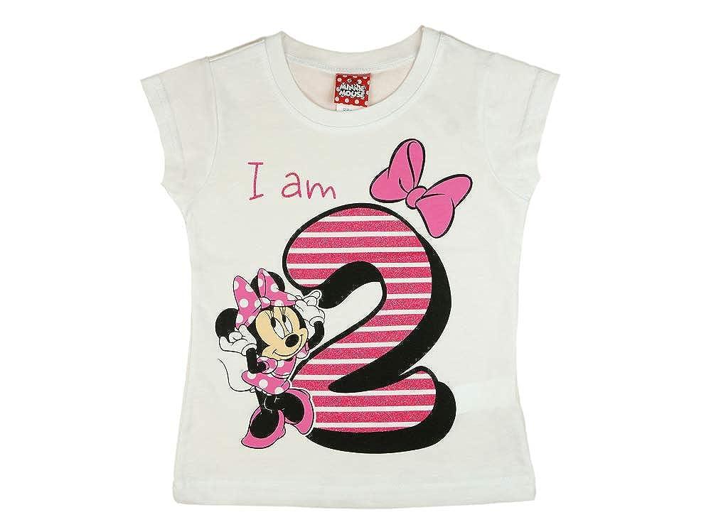 M/ädchen Baby Kinder zweiter Geburtstag Kurzarm T-Shirt 2 Jahr Baumwolle Birthday Outfit GR/ÖSSE 92 Minnie Mouse Disney Design und Glitzer in Weiss oder Rosa Babyshirt Oberteil Farbe Weiss