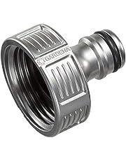 """GARDENA Premium kraanaansluiting 33,3 mm (G 1""""): Adapter voor waterkranen, hoogwaardig metaal, spatvrije waterstroom, vorstbestendig, verpakt (18242-20)"""
