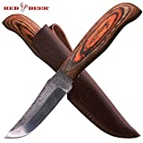 Red Deer Hunting Knife High Carbon Steel Old File Knife with Sheath (Pakka Wood Handle) For Sale