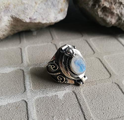 (Handmadejewelry - Beautiful Handmade Rainbow Moonstone Ring | 925 Sterling Silver | Secret Compartment | Oval Shape | Perfect Gift | Available In All US Sizes | Locket Ring | Boho Ring | Nickle Free )