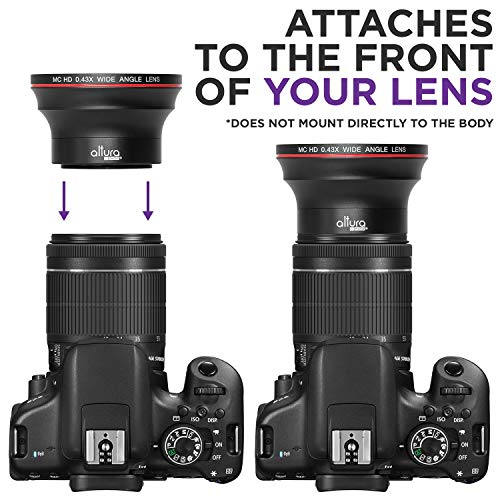 55MM 0.43x Altura Photo Professional HD Wide Angle Lens (w/Macro Portion) for Nikon D3400, D5600 and Sony Alpha Cameras