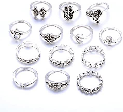 UHANGETH 13pcs Retro Rings Hollow Carved Flowers Joint Knuckle Rings Sets