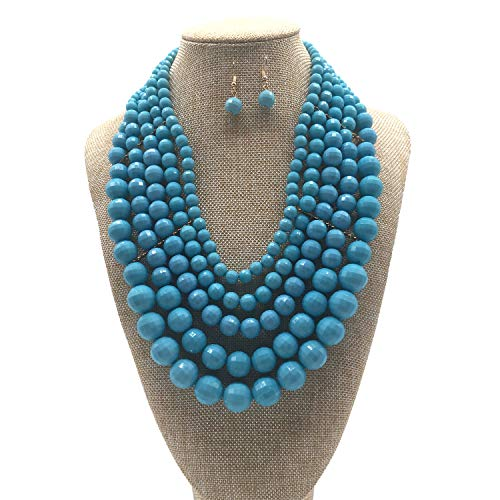 JHWZAIY 5 LayersBeaded Statement Necklace - Multi Strand Colorful Bead Layered Bib Necklace (Light -