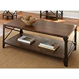 Windham Solid Birch Wood – Iron Contemporary Coffee Table Rustic – Industrial Style For Sale