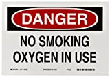 "Brady 88382 10"" Width x 7"" Height B-302 Polyester, Black and Red on White Sign, Header ""Danger"", Legend ""No Smoking Oxygen In Use"""
