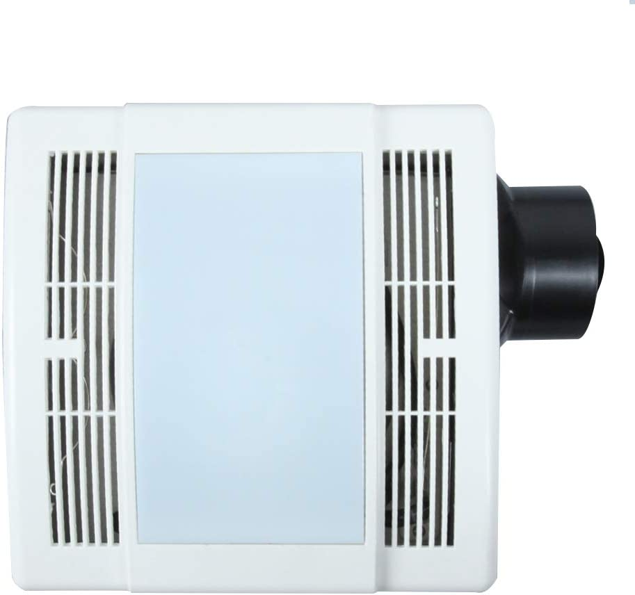 Ultra Quiet Bathroom Fan with LED Light 90CFM 1.5 Sones (12W E26 Base LED Blub Included) 3 Years Warranty by Akicon