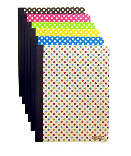 "Set of 6 Polka Dot Composition Notebooks (100 Page, College Ruled, Non-Punched, 9.75"" X 7.25"")"