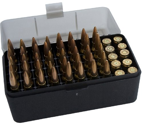 MTM 50 Round Flip-Top Rifle Ammo Box .22-250 to .308 Win (Clear Smoke/Black), Outdoor Stuffs