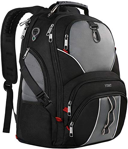 Travel Laptop Backpack, Large Computer Backpack Bag Fits 17 inch Laptop for Men Women for Hiking/School / College, Black TSA Smart Scan Bookbag with 9 Compartments Made of Water-Resistant Fabric ()