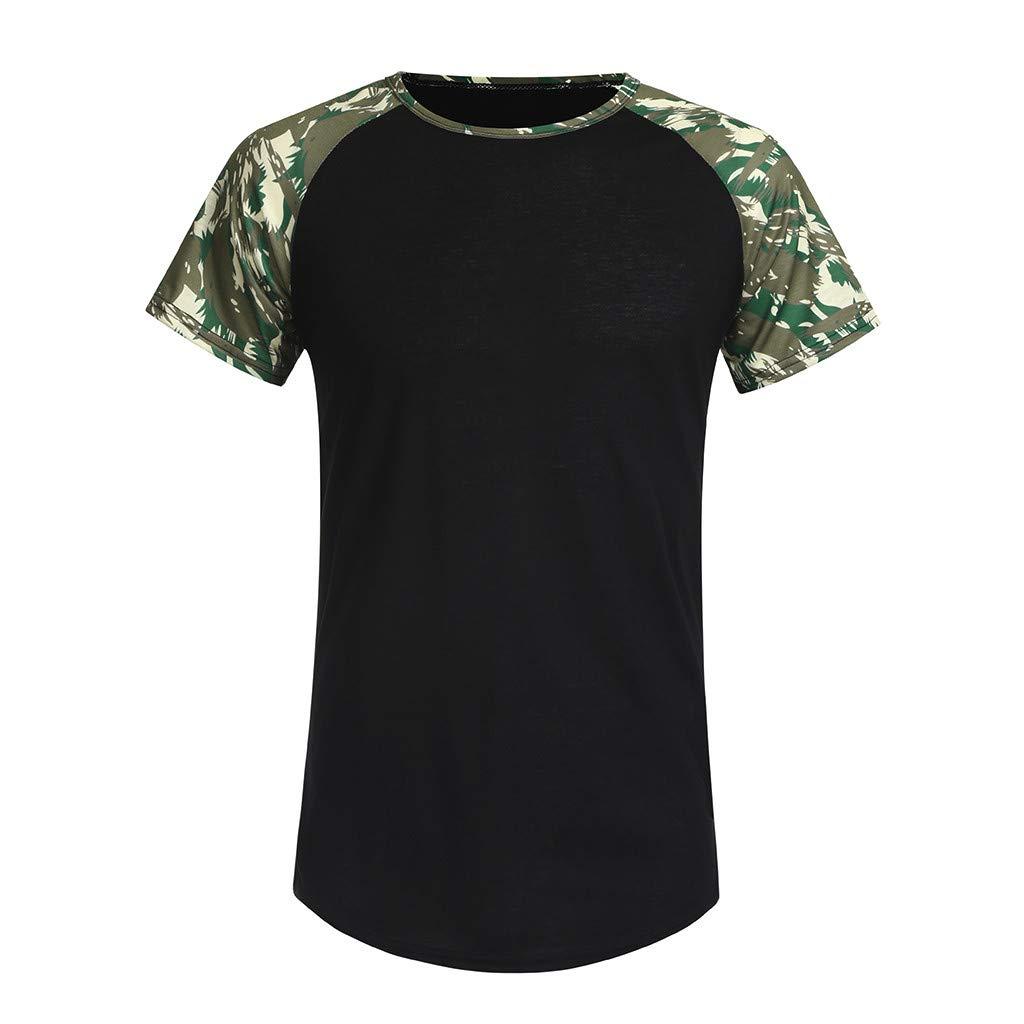 O-Neck Tops,Men Casual Summer Camouflage Print Short Sleeve O-Neck Tops Blouse T-Shirt,Black,L