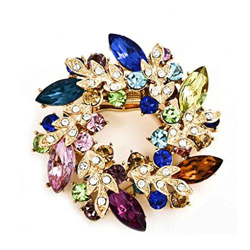 Crystals Flower Silk Scarf Brooches Women Pins Clip Buckle Rhinestone Broche Gifts Xuanhemen