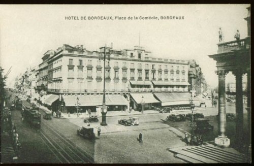 Hotel Bordeaux France trolley postcard 1920s