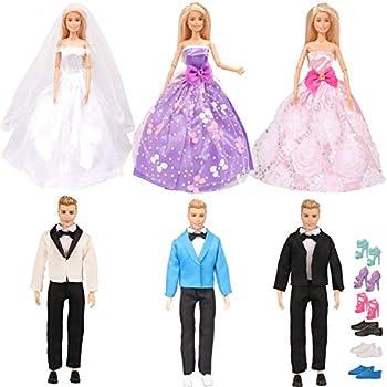 Amazon.com: Vestido de boda blanco Barwa con velo, para ...