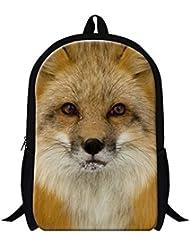 Creativebags Teenagers Boy Girl Satchel School Backpack Travel Bags Animal Fox 3D Design printing 16 Inch by CreativeBags