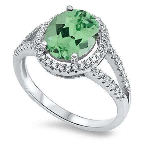 (925 Sterling Silver Oval Faceted Natural Genuine Green Emerald Halo Ring Size 8)