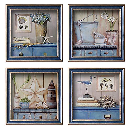 LHMAOMAO 4 Panels Framed Wall Pictures Fresh Flowers Sea Star Paintings Canvas with Framed for Bedroom Bedside Painting Living Room Restaurant Mural 13.4