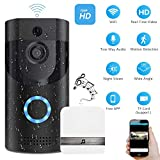 Smart Video Doorbell, Wonbo 720P HD WiFi Security Camera, Real-time HD Monitoring, Waterproof, Two-Way Communication and Remote App Control (Black)