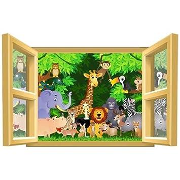 Décoration chambre enfant Sticker Animaux de la Jungle dans ...