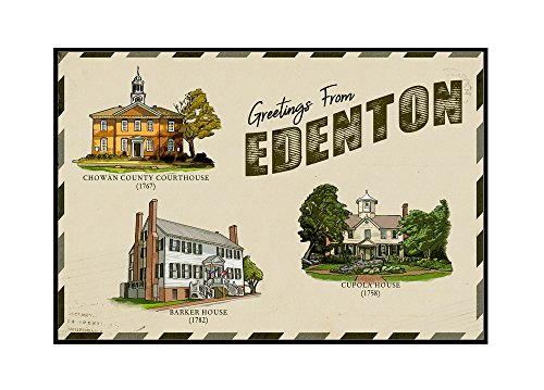(Edenton, North Carolina - Greetings from Edenton - Vintage Postcard Press Arkwork (24x16 Framed Gallery Wrapped Stretched Canvas))